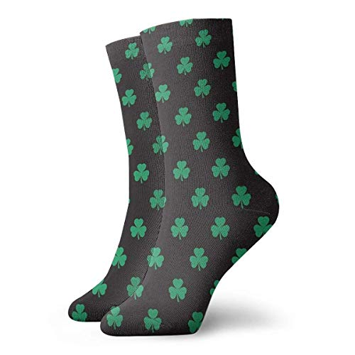 Lucky Irish Negro Y Verde Shamrock Calcetines Calcetines Clásicos Ocio Deporte Calcetines Cortos Calcetines 30cm/11.8inch Adecuado Para Hombres Mujeres