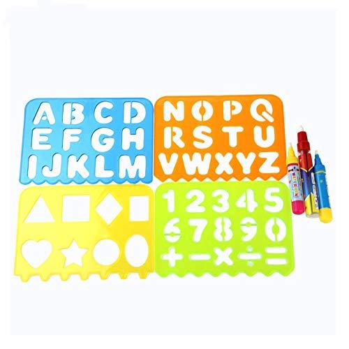 T & F - Set di 4 stencil in plastica con lettere dell'alfabeto, forme e stencil a righello, modello di disegno, guida in plastica e 3 penne magiche