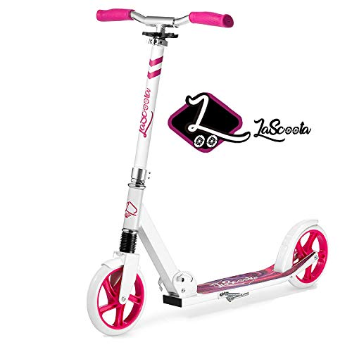"""Lascoota Scooters for Kids 8 Years and up - Quick-Release Folding System - Front Suspension System + Scooter Shoulder Strap 7.9"""" Big Wheels Great Scooters for Adults and Teens (Marble, Kids/Adults)"""