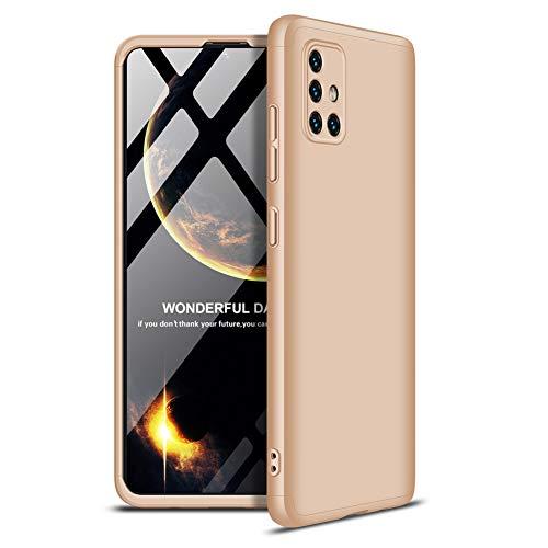 Huatong Electronics Carcasa Funda Compatible Samsung Galaxy A51 Funda Carcasa Silicona Oro Estuche 3 in 1 Accesorios Móviles Smartphones Protector de Pantalla Vidrio Carcasa Samsung Funda
