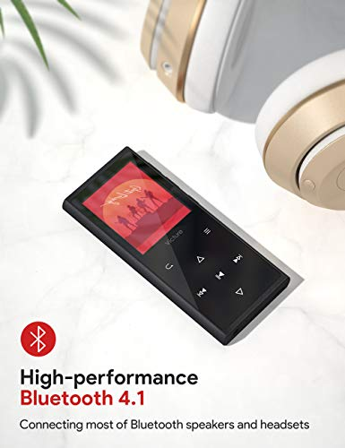 MP3 Player 16GB Bluetooth Digital Music Player with FM Radio Voice Recorder Speaker HiFi Lossless Sound Quality Pedometer Wired Earphone Support up to 128GB 4