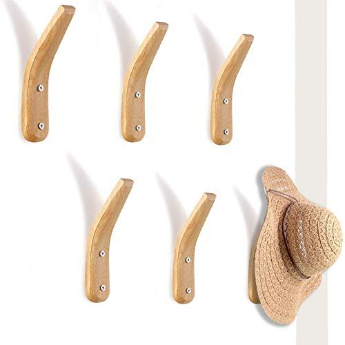 6 Pieces Wooden Coat Rack Hooks Wall Mounted Hat Rack Organizers Rustic Towel Hangers for Hanging Coats Hats Bags Towels
