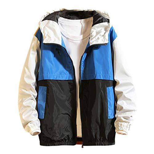MAYOGO Herren Jacke Windbreaker Outdoor Funktionsjacke Regenjacke Kapuze Sweatjacke Übergangsjacke (Blau, L/EU:36)
