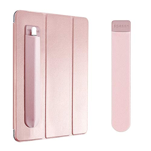 Spessn Compatible for Pencil Holder Sticker, Elastic Lycra Stylus Pocket iPad Screen Pen Protective Pouch Adhesive Sleeve for Pencil - Rose Gold