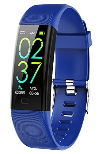 Fitness Tracker - Reloj de pulsera inteligente para hombre y mujer, pantalla táctil con pulsómetro, podómetro, presión arterial, reloj de pulsera inteligente con iOS, Android, resistente al agua