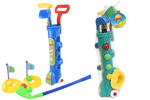 Childrens Summer Fun Outdoor Garden Golf Clubs & Caddy Game Set