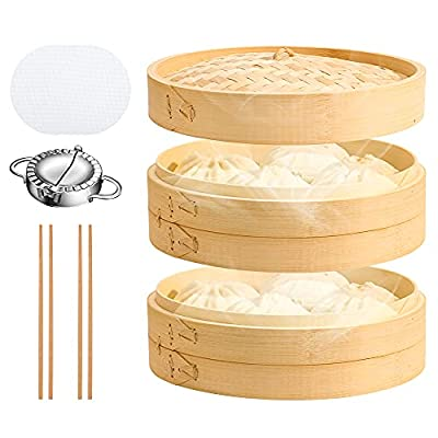 UNAOIWN Bamboo Steamer Basket 10 Inch for Cooki...