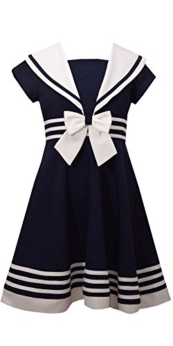 Bonnie Jean Little Girls' Fit and Flare Nautical Dress, Navy, 6