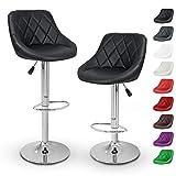 TRESKO 2er Set Barhocker Barstuhl 10 Farben wählbar, 360° frei drehbar, Sitzhöhenverstellung 60-80cm (Schwarz)