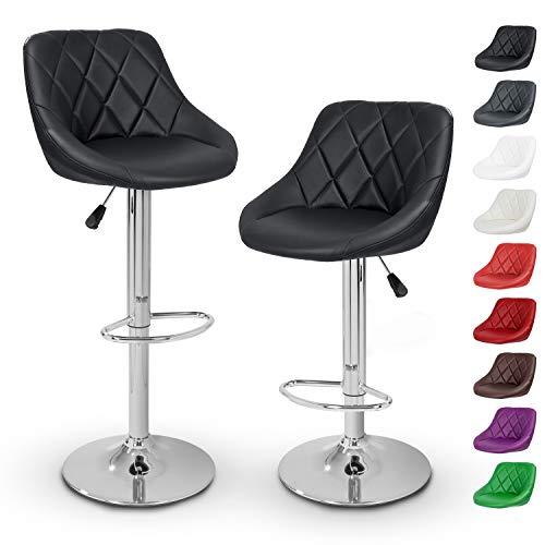 TRESKO Barhocker 2er Set mit Lehne - Barstuhl höhenverstellbar - Hocker für Theke & Küche, Barstühle 360° drehbar - verchromter Stahl, Fußstütze (Schwarz)