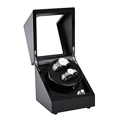 GUOYUN Caja Relojes Automaticos Estuche para 2 Relojes, Watch Winder De Cuero PU Super Silencioso Caja Organizadora De Relojes Hombre Mujer, Alimentado por Batería O Red