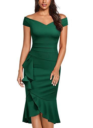 pequeño y compacto Miusol Vestido de fiesta de sirena con hombros descubiertos y lápiz para mujer Verde oscuro L.