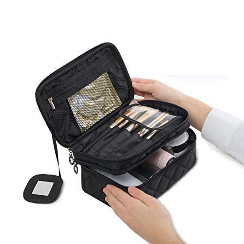 WUHUA Portable Makeup Bag, Double Layer Cosmetic/Toiletry Brush Bag for Women, with Mirror Travel/Train Kit Organizer, Professional Makeup Pouch Purse for Travel