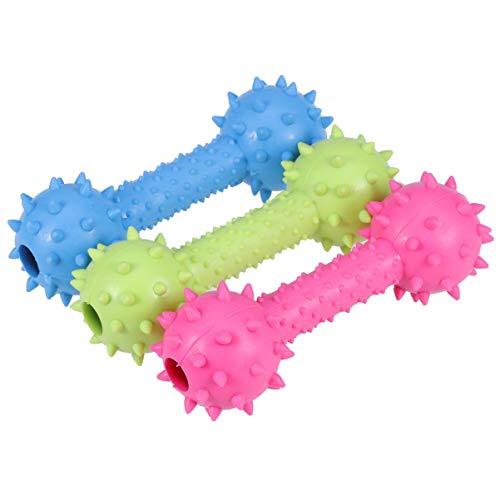 POPETPOP 3 stücke Haustiere kauen Spielzeug interaktive Sounds Spielzeug Hund zähne Reinigung Spielzeug pet liefert für Tier Spielen werfen beißtraining (blau gelb rosig)
