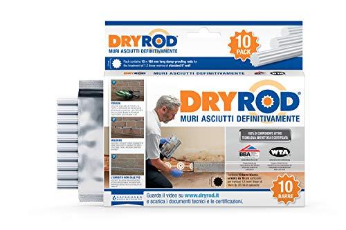 Dryrod, Scatola da 10 barre. Barre impermeabilizzanti per il trattamento fai-da-te di umidità di risalita capillare. Certificato WTA.