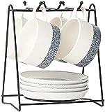 4 Piece European Ceramic Tea Sets,Bone China Coffee Set With Metal Holder,White Tea Set,Home Afternoon Teacup Dinnerware Sets (4-Piece Suit