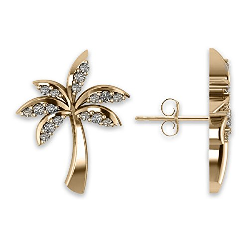 Allurez Diamond Palm Tree Summer Island Earrings in 14k Yellow Gold (0.20ct)