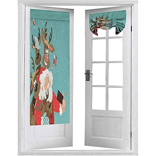 Cortinas francesas para puerta, Papá Noel con cara divertida y amigos de renos tontos tomando una selfie divirtiéndose, 2 paneles de 66 x 172 cm para ventana, multicolor