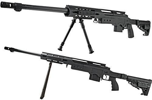Nerd Clear Softair-Gewehr Sniper Scharfschütze Federdruck Vollmetall 4,5 kg Spielzeug-Waffe max. 0,5 J im Set mit 6 mm BB Airsoft Munition