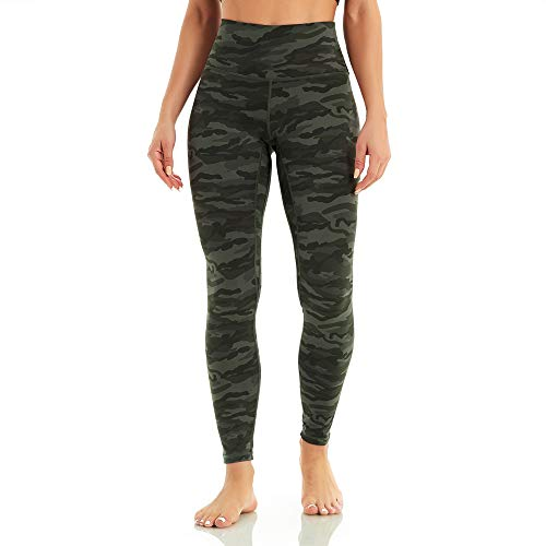 WodoWei Women's High Waisted Printed Leggings Full-Length Workout Yoga Pants (W718-Army Green Camo-L)
