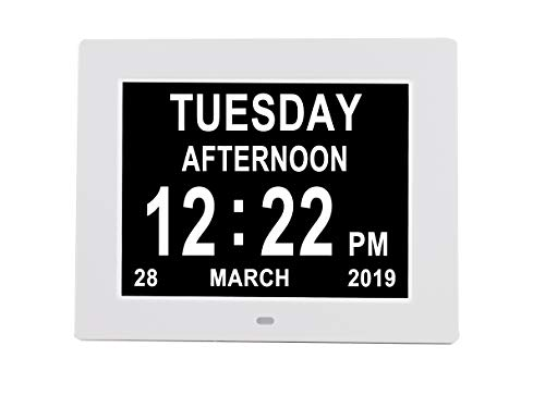[Newest Version] Digital Day Calendar Clock Auto Dimming 3 Medication Reminder Non-Abbreviated Day Date Month Dementia Clocks for Seniors Elderly Impaired Vision(8'' White)