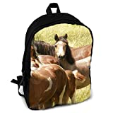 Homebe Sac à Dos,Cartable,Sac d'école Wild Horse Printing Adult Backpack Travel Hiking Knapsack