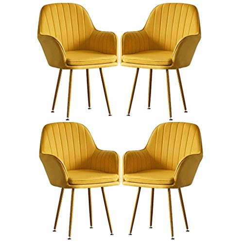 HYRGLIZI Exquisite Flannel Dining Chairs Single Sofa Chair Girl Makeup-Dressing-Chair Lounge Leisure Nail-Stool Creative Fashion Armchairs Set of 4 Home Shop (Color : Yellow)