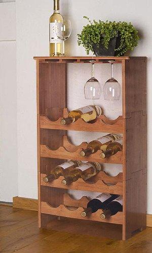 Weinregal Bambusregal für 16 Flaschen und 12 Gläser - 2