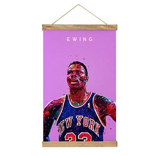 Hochwertige Leinwand zum Aufhängen eines Posters, Patrick Ewing, Poster-Wandbild, einfach anzubringen, 33,1 x 50,1 cm.