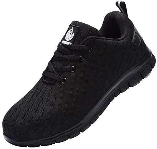 Zapatillas de Seguridad Hombre,Trabajo con Puntera de Acero Transpirable Reflectante Botas de Seguridad(Negro,42.5)