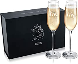 Sweetzer & Orange Bride and Groom Champagne Glasses (8 oz) Engraved Mr and Mrs Glasses for Wedding Glasses and Toasting Flutes, Bridal Shower Gifts, Engagement Gift. Boxed Mr and Mrs Gifts