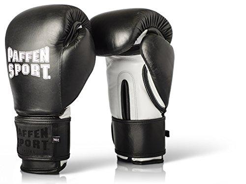 Paffen Sport PRO Klett Echtleder-Boxhandschuhe für das Sparring und Training – schwarz/weiß – 12UZ
