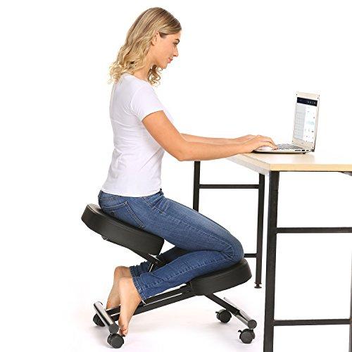Sedia Ergonomica Inginocchiato, Sedia da Scrivania con Cuscini Ultra-Comfort e Sistema di Bloccaggio Ruote