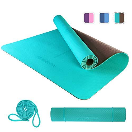 PROIRON Tappetino da Yoga Antiscivolo per Fitness Pilates Tappetini Yoga ProfessionaleVerde + Brown 1830×800×6mm Antiscivolo e Grande