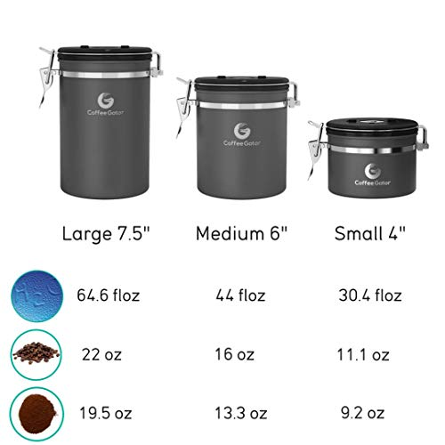 Coffee Canister - Coffee Gator Stainless Steel Coffee Container - Fresher Beans and Grounds for Longer - Date-Tracker, CO2-Release Valve and Measuring Scoop - Large, Silver