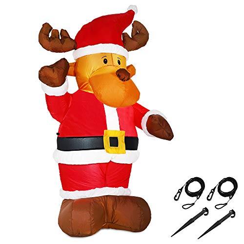 Monzana Aufblasbares Rentier 135cm LED Beleuchtet Befestigungsmaterial Weihnachtsdekoration Weihnachten Elch Deko Figur