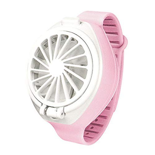 ZYXZXC Mini Fan Portable,Mini Usb Desk Fan Portable,Watch Fan 3-Speed Adjustable,Angle Can Be Folded,Multiple Charging Modes,Suitable For Family, Office, Travel, Shopping,Pink