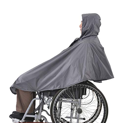 Poncho impermeable Use un sombrero para sillas de ruedas, capa sin mangas para silla de ruedas, capa para la lluvia con capucha, tiras reflectantes, fácil de usar para ancianos y pacientes para sill