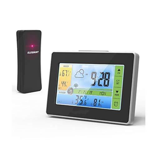 Queen Boutiques Funkwetterstation Innen- und Außentemperatur und Luftfeuchtigkeit Sensor Digital Touch mit Kalender und Mondphase Snooze Wecker (Color : Black, Größe : 5.59 * 3.78in)