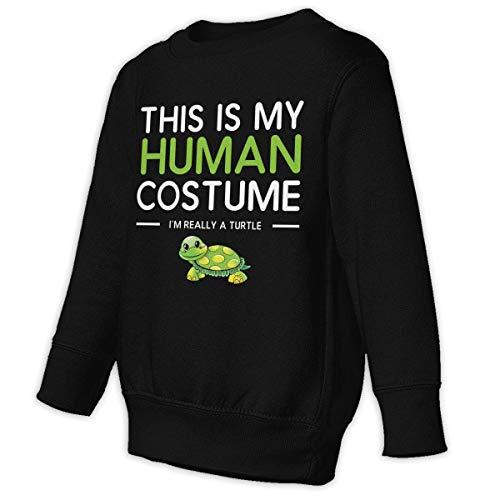 Mark Star Dies ist Mein menschliches Kostüm Ich Bin wirklich eine Schildkröte Hoodie Pullover Junge Mädchen Kind O Hals Freizeit(5/6 t,schwarz)