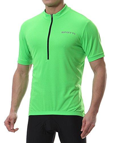 Spotti Men's Basic Short Sleeve Cycling Jersey - Bike Biking Shirt (Green, XX-Large)