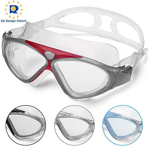 Schwimmbrille Erwachsene Anti Fog Ohne Leakage deutlich Anblick UV Schutz 180°Weitsicht Einfach zu anpassen,Professional Super komfortabeler Schwimmbrille für Herren und Damen(Red/Clear Lens)