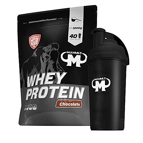 1kg Mammut Whey Protein Eiweißshake - Set inkl. Protein Shaker oder Powderbank (Chocolate, Gratis Mammut Shaker)