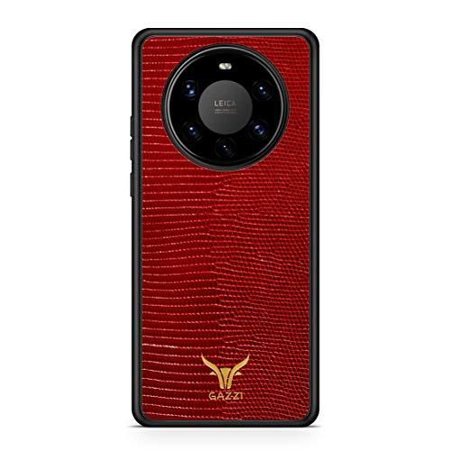 GAZZI Lederhülle für Huawei Mate 40 PRO Hülle Hülle Schale Backcover Handyhülle Schutzhülle Echt Leder, R&umschutz, Flexible Schale (Lizard Rot Gold)