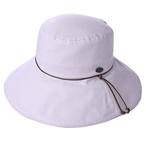 Womens Summer Sun Hat Linnen Ponytail Wide Brim Verstelbare winddicht Cord Vissen Emmer Hoeden (Color : Gray, Size : Fitted 58-61cm)