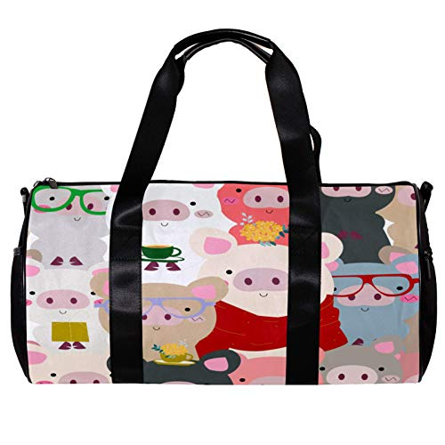 Runde Sporttasche mit abnehmbarem Schultergurt, Baby-Schwein, blau-grau, pastellfarben, Cartoon-Training, Handtasche, für Damen und Herren