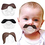 3 Pack Soft Silicone Mustache Pacifier, Design for Baby Toddler, BPA Free Latex Free, Good Idea Gift for Newborn Baby Shower