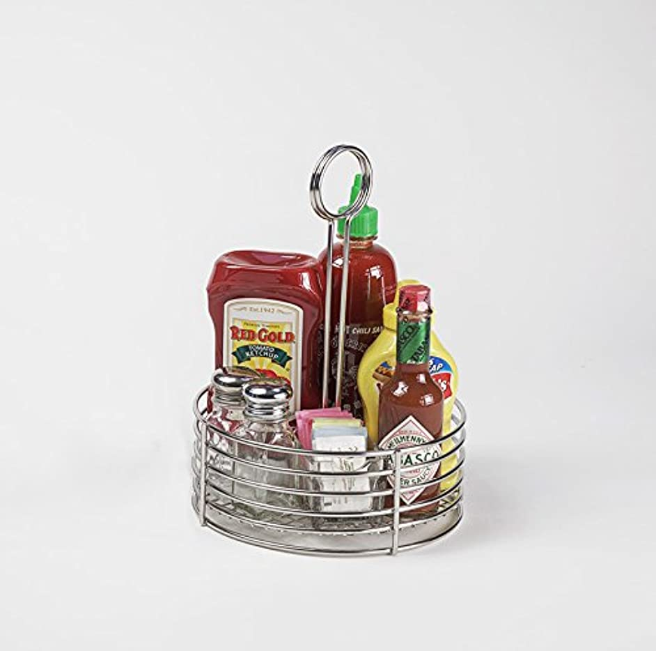G.E.T. Enterprises Stainless Steel Round Stainless Steel Condiment Caddy Stainless Steel Table Caddies Collection 4-81866 (Pack of 1)