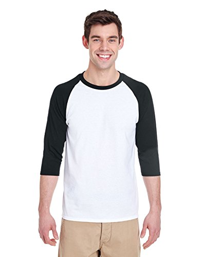 By Gildan Adult Heavy Cotton 53 Oz, 3/4 Raglan Sleeve T-Shirt - White/Black - 2XL - (Style # G570 - Original Label)