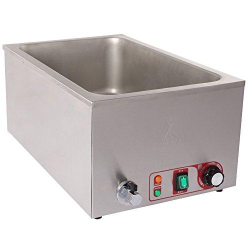 Beeketal 'BBM-A' Gastronorm Bain Marie mit Ablaufhahn, Profi Gastro Speisewärmer passend für (GN) 1/1 Gastronorm Behälter, Wasserbad Temperatur einstellbar von 35-65 °C